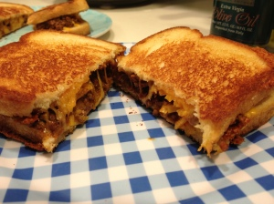 Chili filled grilled cheese sandwich