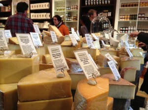 Cheese on display, much of it local