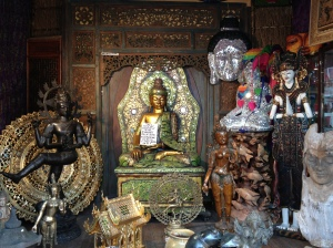 Buddhas and other relics on Railroad Street in Great Barrington