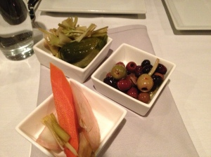 Pickled olives, celery and fennel whet the appetite