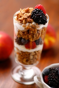 Yogurt parfait made with Jessica's Natural Foods Gluten-Free Granola and fresh fruit.
