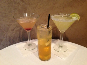 (L to R): Bibi'z Blossom, White Peach Sangria and Skinny Karma - Rita