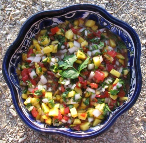 Fresh Mango Salsa served in a bowl ready to enjoy
