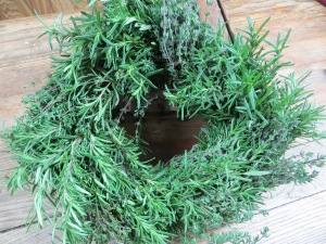 Fragrant fresh herb wreath, hand-made by Stokes Farm in Old Tappan, NJ