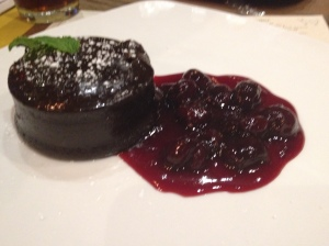Flourless chocolate cake with cherry compote