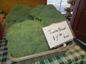 Jumbo heads of broccoli, $4 - a steal