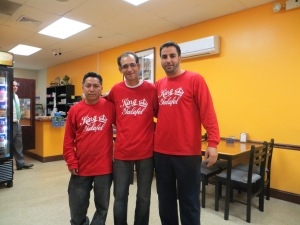 Sammy Faragh, Falafel King (far right), with partner Mike Elbib (center) and Rodrigo, courtier