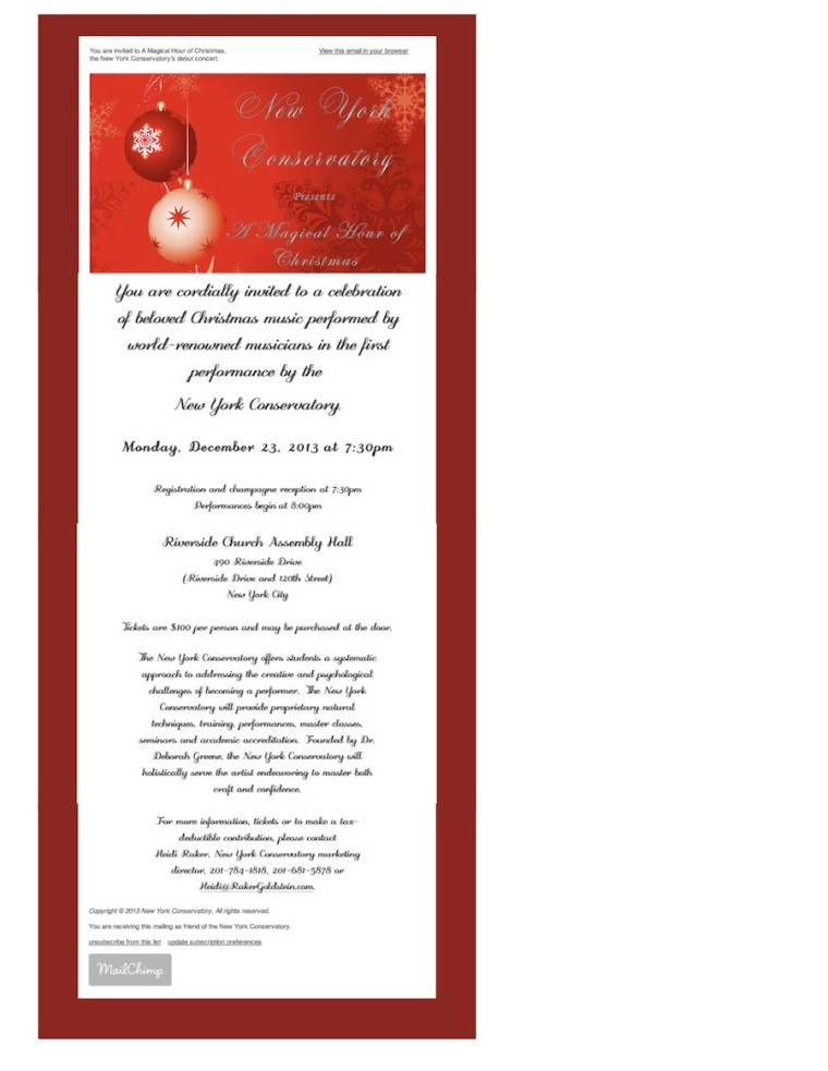 New York Conservatory Invitation