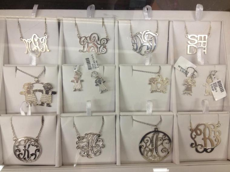 Monogrammed necklaces and charms available in sterling silver, white gold, and yellow gold