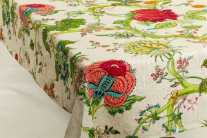 Amelie Michel linens - tablecloths, pillows, bedspreads and more using Provencal-sourced fabrics which are sewn in the US.
